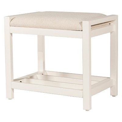Amelia Backless 18.5  Vanity Stool White/Ecru - Hillsdale Furniture