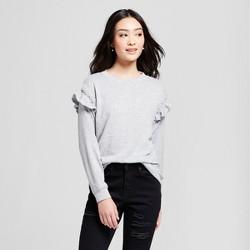 Women's Pearl Ruffle Sleeve Sweatshirt - Lily Star (Juniors') Gray