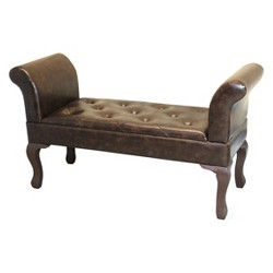 Faux Leather Bed with End Bench - Brown - Vintiquewise