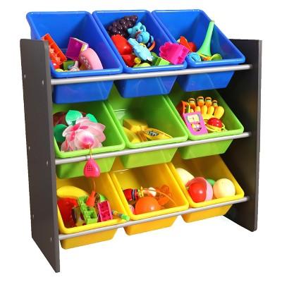 3 Tier Kidsu0027 Toy Storage Organizer With 9 Plastic Bins   Basicwise