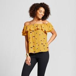 Women's Short Sleeve Off the Shoulder Woven Top - Xhilaration™