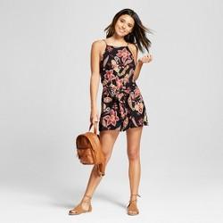Women's Floral Print Tie Front Romper - Xhilaration™
