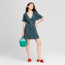 Women's Floral Print Short Sleeve Tie Front Dress - Xhilaration™ Ditsy Green