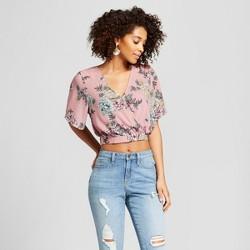 Women's Floral Print Flutter Short Sleeve Wrap Crop Top - Xhilaration™