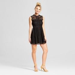 Women's Lace Neckline Fit & Flare Dress - Lots of Love by Speechless (Juniors') Black