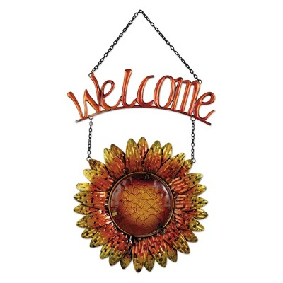 20  Tall Metal And Glass Sunflower Welcome Sign - Amber - Sunset Vista Design