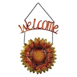 "20"" Tall Metal And Glass Sunflower Welcome Sign - Amber - Sunset Vista Design"