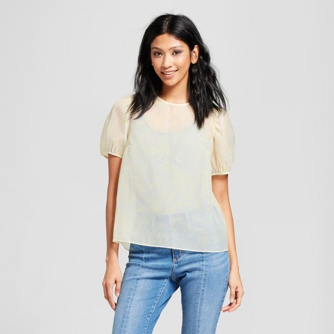 Women's Short Puff Sleeve Blouse - Mossimo™ Yellow - image 1 of 2