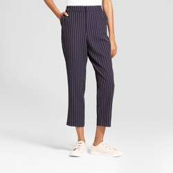 Women's Striped Ankle Joggers - A New Day™ Navy/White