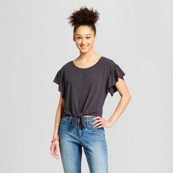 Women's Ruffle Sleeve Tie-Front Top - Mossimo Supply Co.™