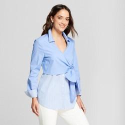 Women's Wrap Front Shirt Long Sleeve Blouse - Como Black - Blue