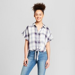 Women's Plaid Ruffle Sleeve Tie-Front Shirt - Mossimo Supply Co.™ Blue