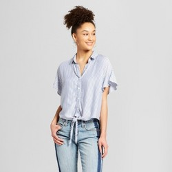 Women's Striped Ruffle Sleeve Tie - Front Camp Shirt - Mossimo Supply Co.™ Blue
