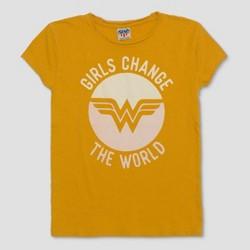 Junk Food Kids' Wonder Woman Girls Change the World Short Sleeve T-Shirt - Bright Gold