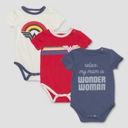 Junk Food Infant Wonder Woman Bodysuit 3pk - White/Blue/Rustic Orange