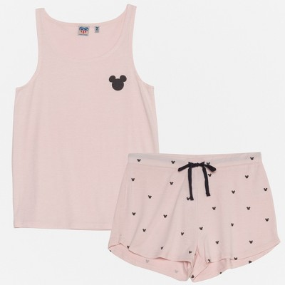 Junk Food Women's Mickey Mouse Tank Top and Shorts Set - Blush L