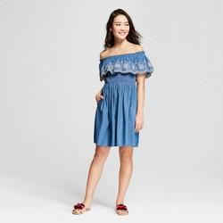 Women's Off the Shoulder Embroidered Popover Dress - Xhilaration™