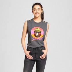 Women's Smokey Bear Retro Shoulder Slash Graphic Tank Top (Juniors') - Heather Gray