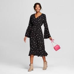 Women's Bell Sleeve Floral Midi Dress - Le Kate (Juniors') Black