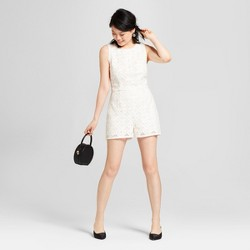 Women's Lace Romper with Back Ties - Xhilaration™ Ivory