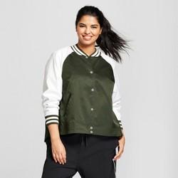Hunter for Target Women's Plus Size Varsity Swing Jacket - Olive