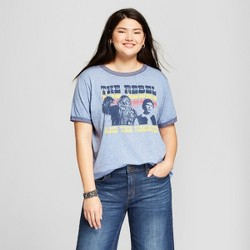 Women's Star Wars Plus Size Short Sleeve Rebel Wookie Burnout Ringer Graphic T-Shirt (Juniors') Navy