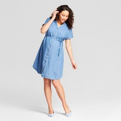 Maternity Denim Dolman Shirt Dress - Isabel Maternity by Ingrid & Isabel™ Medium Wash