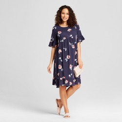 Maternity Ruffle Sleeve Printed Woven Dress - Isabel Maternity by Ingrid & Isabel™ Navy Floral
