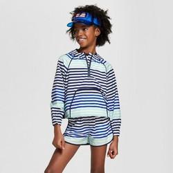 Hunter for Target Girls' Striped Half Zip Hooded Jacket - Blue