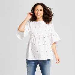 Maternity Bell Sleeve Embroidered Polka Dot Top - Isabel Maternity by Ingrid & Isabel™ White