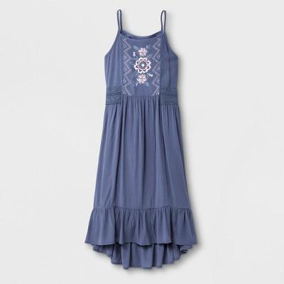 Girls' Gauze Floral Maxi Dress   Art Class™ Gray by Art Class™
