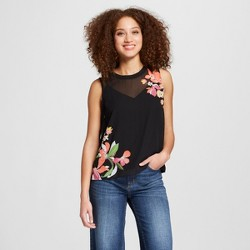 Women's Floral Print Placed Tank Top - A New Day™ Black