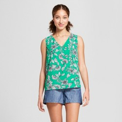 Women's Floral Print Sleeveless Blouse - A New Day™ Green