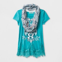 Self Esteem Girls' Short Sleeve Graphic Top with Scarf - Aqua