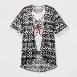 Self Esteem Girls' Short Sleeve Kimono with Necklace - White
