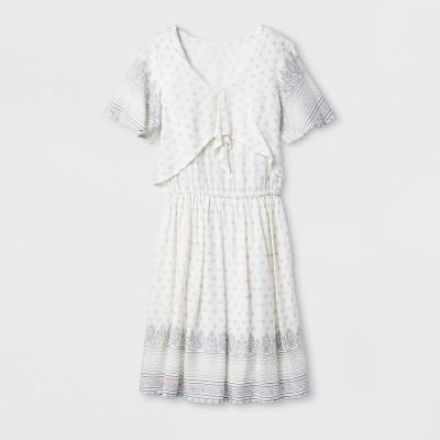 Girls' Front Tie Printed Dress   Art Class™ White by Art Class™