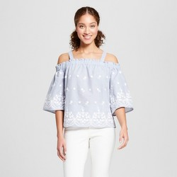 Women's 3D Floral Off the Shoulder Top - A New Day™ Blue