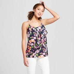 Women's Floral Print Satin Ruffle Cami - A New Day™ Navy