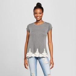Women's Short Sleeve Lace Trim Tunic Shirt - Xhilaration™ Charcoal