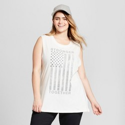 Women's Plus Size Stronger Together Earth Day Graphic Tank Top - Zoe+Liv (Juniors') White