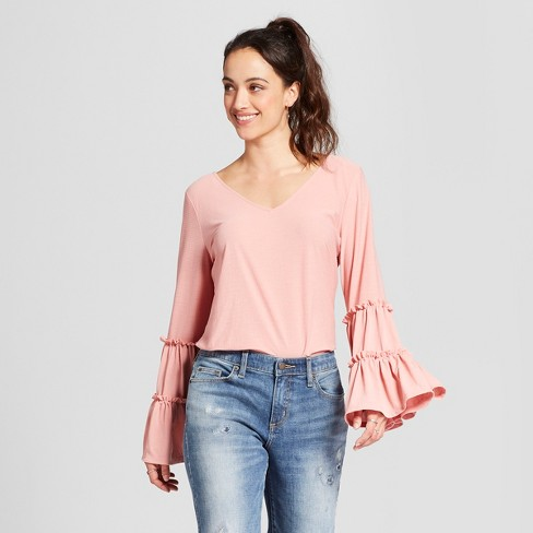 Women's Long Tiered Sleeve Knit Blouse - Notations - Pink - image 1 of 2