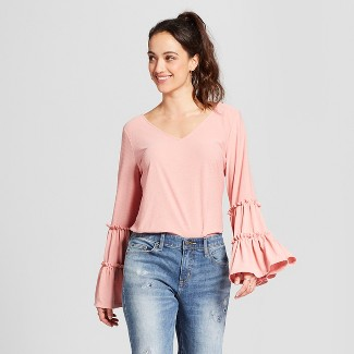 Women's Long Tiered Sleeve Knit Blouse - Notations - Pink