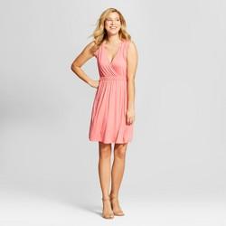 Women's V-Neck Short Knit Dress - Spenser Jeremy Pink