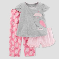 Baby Girls' 3pc Owl Pajama Set - Just One You™ Made by Carter's® Light Gray