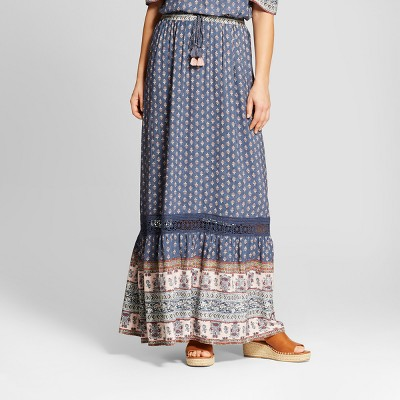 Women's Printed Tiered Maxi Skirt   Knox Rose™ Blue by Knox Rose™