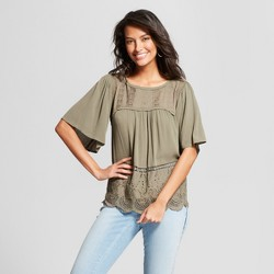 Women's Short Sleeve Eyelet Trim Knit to Woven Blouse - Knox Rose™ Olive