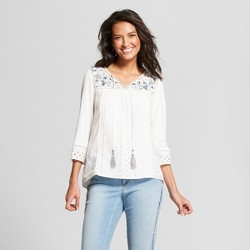 Women's Long Sleeve Embroidered Eyelet Knit to Woven Peasant Top - Knox Rose™ White