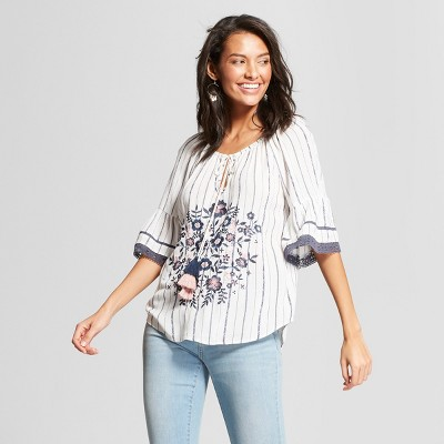b2334263a213cb KNOX ROSE™. WOMEN'S ELBOW SLEEVE FLORAL EMBROIDERED STRIPED BLOUSE ...
