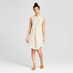Women's Embroidered Linen Dress - Knox Rose™ Stone