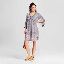 Women's Split Sleeve Print Peasant Dress - Knox Rose™ Dusty Blue